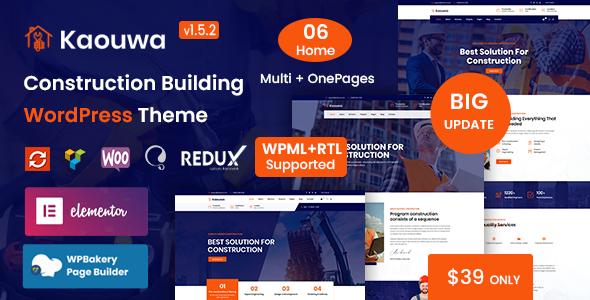 Kaouwa - Construction Building WordPress Theme