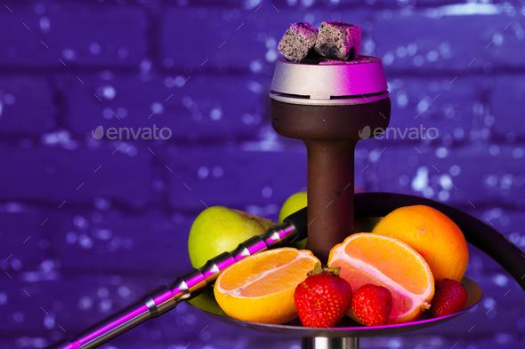 Shisha parts and fresh fruits close up - Stock Photo - Images