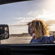 Attractive woman outside the car look the road in adventure travel - freedom lifestyle female - PhotoDune Item for Sale