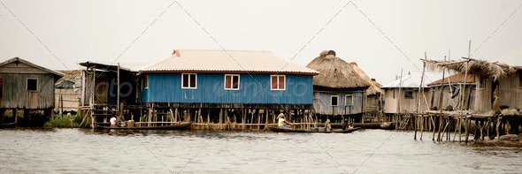 Stilt village of Ganvie in Benin - Stock Photo - Images