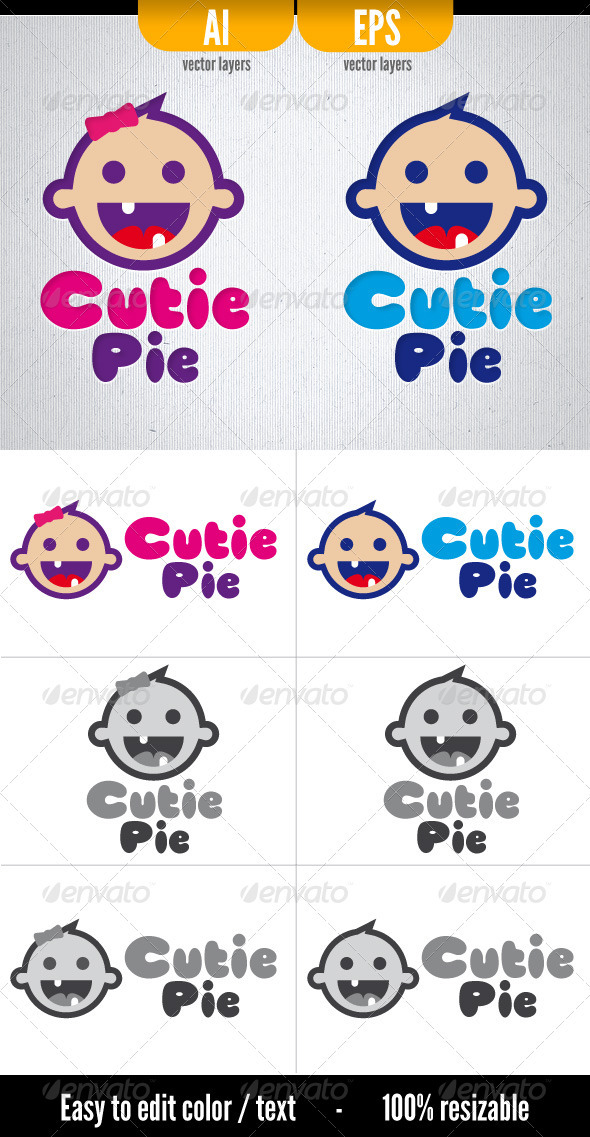 Cutie Pie - Logo Template - Humans Logo Templates