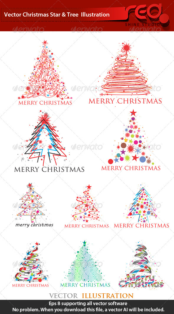 Stylised Christmas Tree Collection - Christmas Seasons/Holidays
