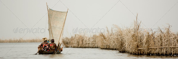 African women on a boat - Stock Photo - Images