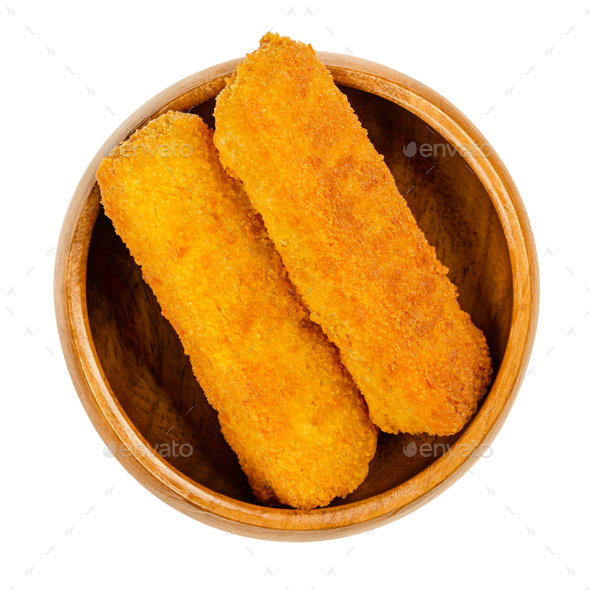Deep-fried vegan fishless fingers, ready to eat,  in a wooden bowl - Stock Photo - Images