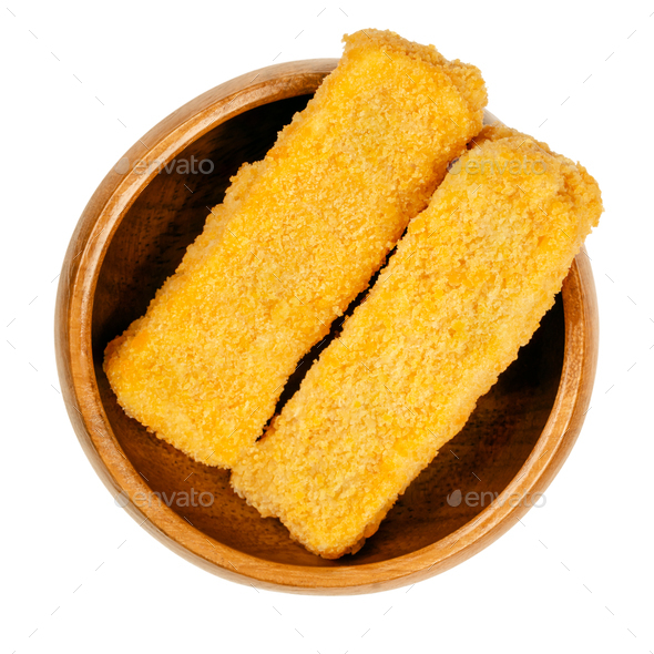 Vegan fishless fingers, prefried and cooked, in a wooden bowl - Stock Photo - Images