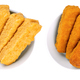 Vegan fishless fingers, pre-fried and deep-fried, in white bowls - PhotoDune Item for Sale
