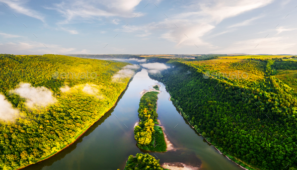 Aerial drone photo through majestic river Dnister - Stock Photo - Images