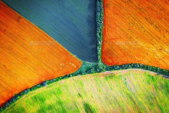 Aerial drone top view fields - Stock Photo - Images