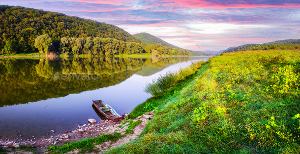 Majestic foggy river and lush autumn forest at sunrise time - Stock Photo - Images