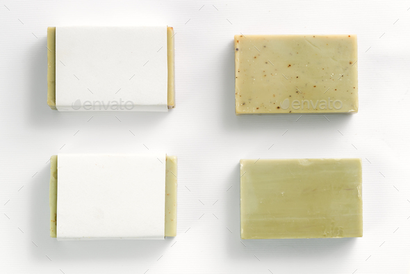 Soap wrap box mock-up package with bar olive soap on white background - Stock Photo - Images