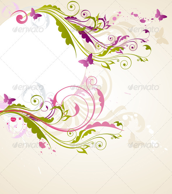 Round Floral Banner - Backgrounds Decorative