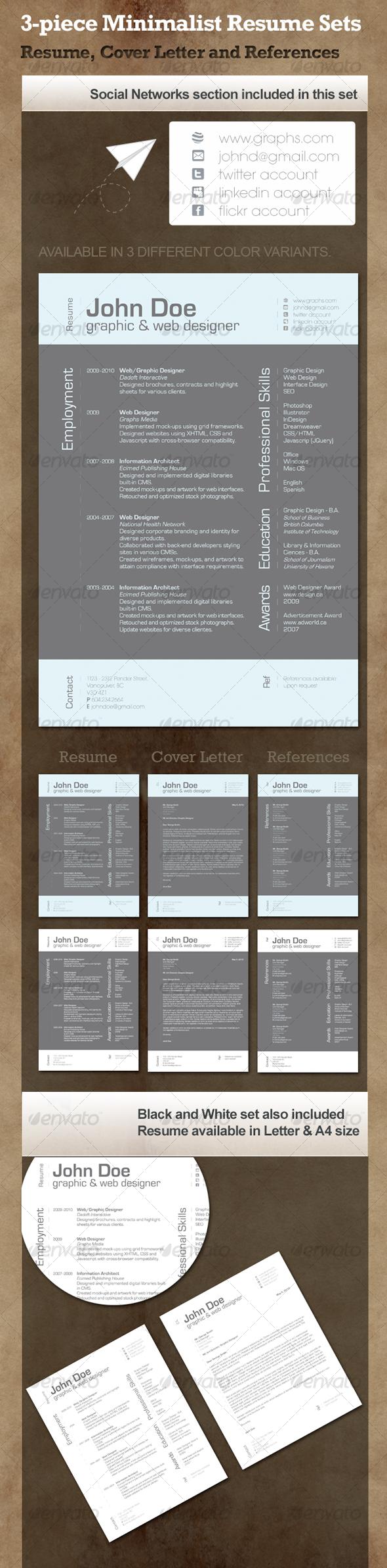 3-Piece Minimalist Resume - Resumes Stationery