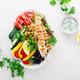 Chicken skewers souvlaki and fresh vegetables with greek tzatziki yogurt sauce. - PhotoDune Item for Sale