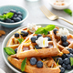 Almond waffles with nuts, ricotta cheese and fresh blueberries - PhotoDune Item for Sale