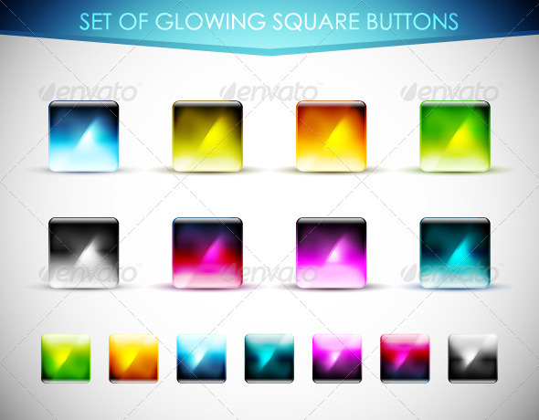 Glowing Square Buttons - Web Technology