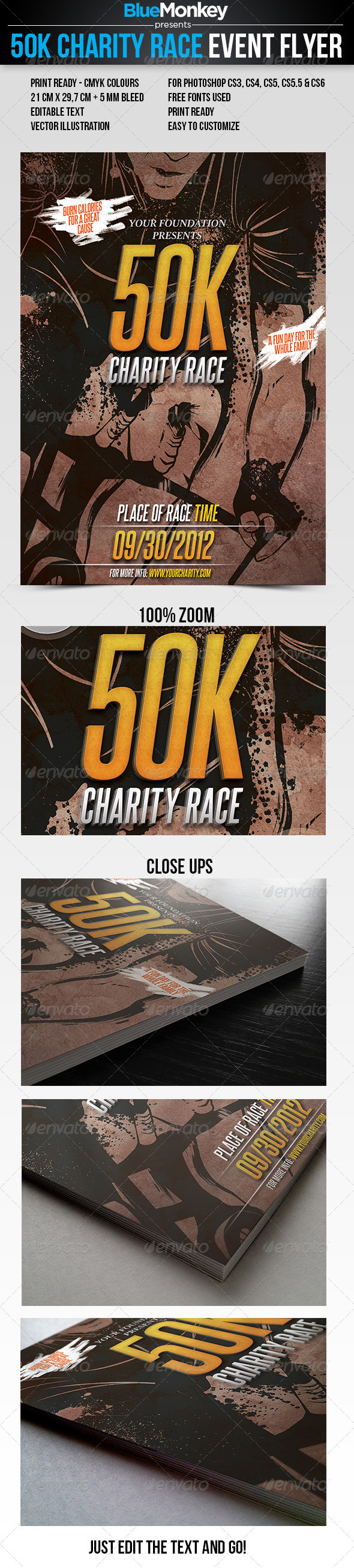 50K Charity Race Event Flyer - Events Flyers