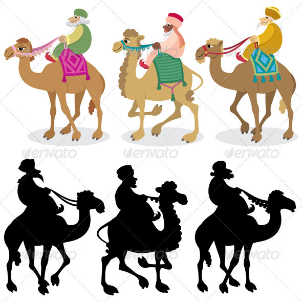 Three Wise Men on White - Characters Vectors