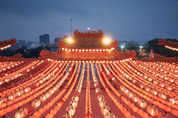 Traditional Chinese red lanterns in temple in Kuala Lumpur - Stock Photo - Images