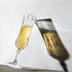 Champagne glass and long glass shadow against concrete wall - PhotoDune Item for Sale