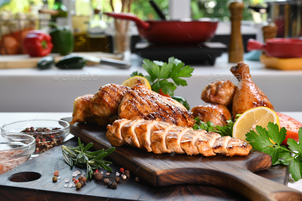 Slices of grilled chicken - Stock Photo - Images