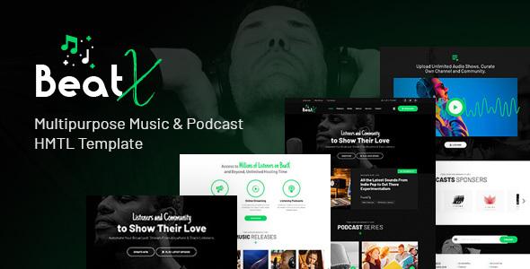 Extraordinary BeatX   Multipurpose Audio Podcast & Music HTML Template