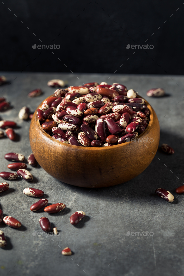 Raw Red Organic Cattle Kidney Beans - Stock Photo - Images