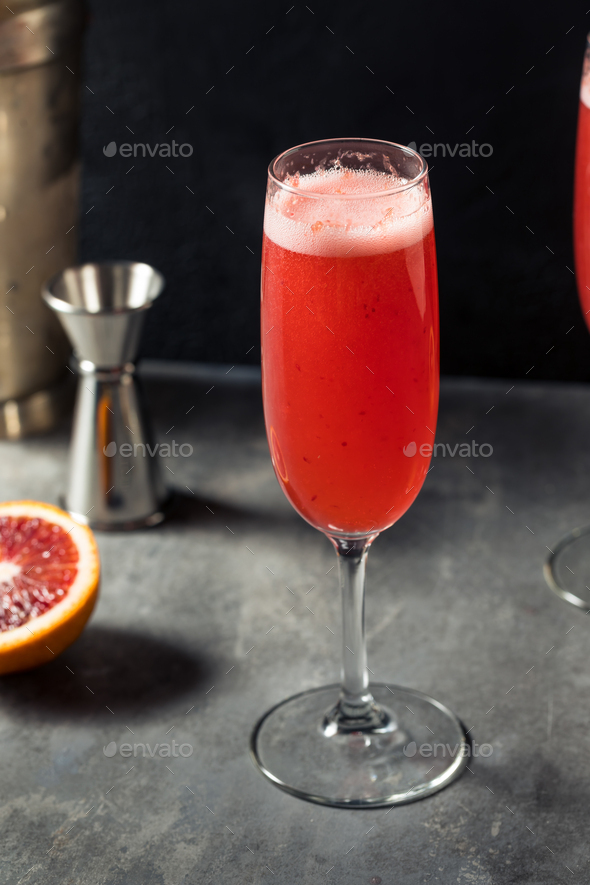 Refreshing Boozy Blood Orange Mimosa Cocktail - Stock Photo - Images