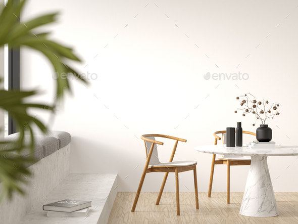 Interior of modern living room with armchair 3 D rendering - Stock Photo - Images