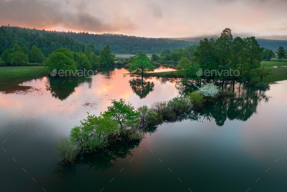 Flooded countryside after a heavy rain - Stock Photo - Images
