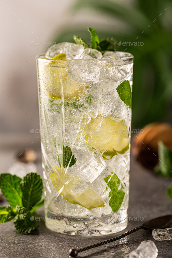 Mojito cocktail with lime and mint - Stock Photo - Images