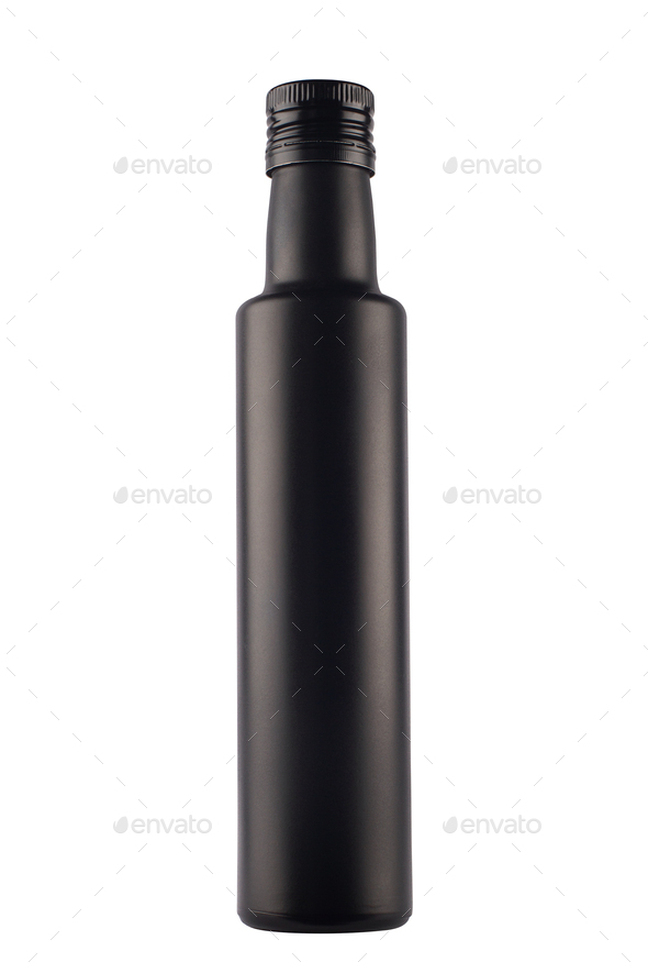 black long bottle on white background - Stock Photo - Images
