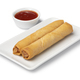 Plate with deep fried Vietnamese egg rolls and sauce on white background - PhotoDune Item for Sale