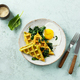 Spinach waffles with fried egg and cheese - PhotoDune Item for Sale