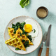 Healthy breakfast with egg, spinach and cheese waffles with herbs - PhotoDune Item for Sale