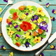 Edible flower salad in the plate - PhotoDune Item for Sale