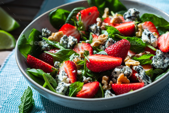 Healthy Clean Eating. Summer Salad with Strawberry and Spinach - Stock Photo - Images