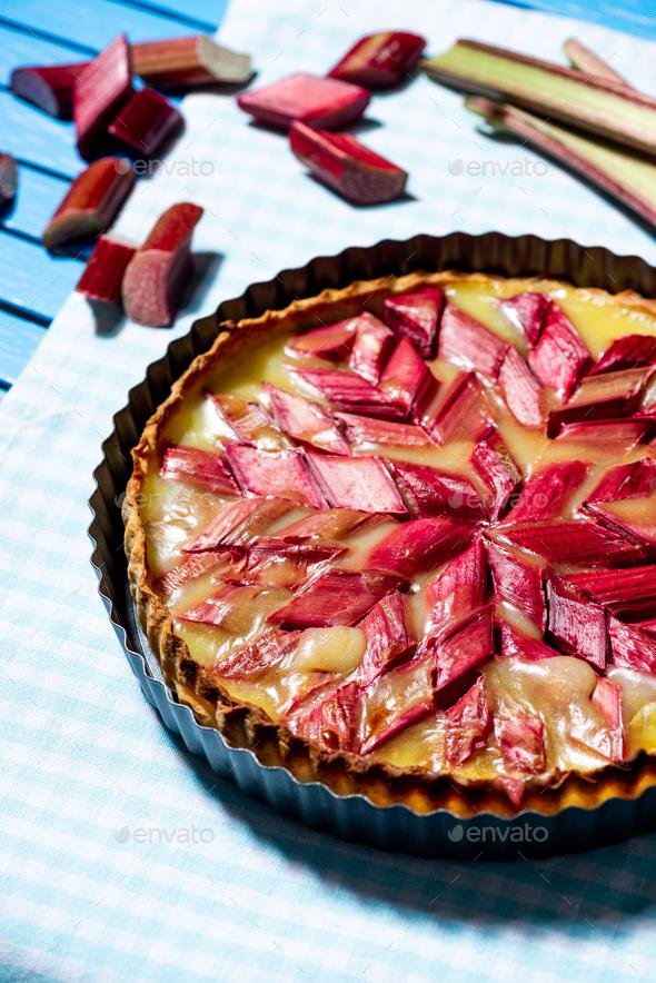 Homemade Sweet Rhubart Pie on Wooden Garden Table - Stock Photo - Images