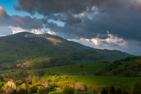 Storm Clouds and Dramatic Weather at Bieszczady Mountains in Poland - Stock Photo - Images