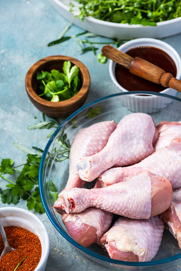 Chicken Drumsticks Legs Preparation for BBQ Grill - Stock Photo - Images