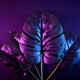 Contemporary night neon lighting and monstera leaves and exotic tropical plants. - PhotoDune Item for Sale