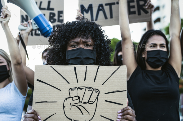 Black lives matter activist movement protesting against racism and fighting for equality - Stock Photo - Images