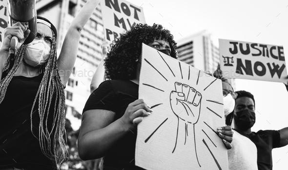 Black lives matter international activist movement protesting against racism - Stock Photo - Images
