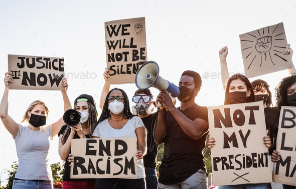 Activist movement protesting against racism and fighting for equality - Stock Photo - Images