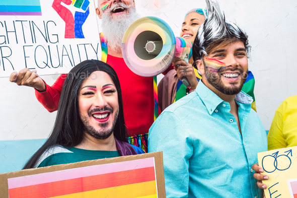 Gay activist people LGBT social movement protesting for homosexual rights - Gender equality concept - Stock Photo - Images