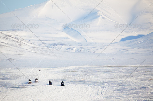 Snowmobile in Svalbard - Stock Photo - Images