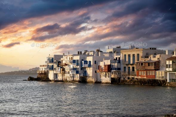 Little Venice at sunset, Mykonos island Aegean Sea. Cyclades Greece. - Stock Photo - Images