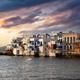 Little Venice at sunset, Mykonos island Aegean Sea. Cyclades Greece. - PhotoDune Item for Sale