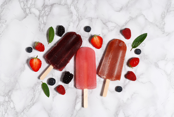 Popsicles with berries - Stock Photo - Images