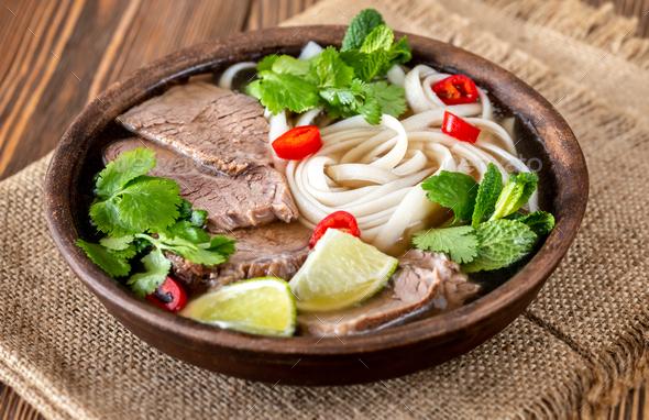 Bowl of Vietnamese pho bo - Stock Photo - Images