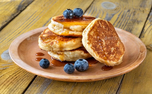 Stack of ricotta pancakes on the plate - Stock Photo - Images